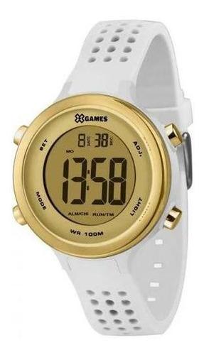 Relógio X-games Xfppd064 Cxbx Feminino Branco E Dourado