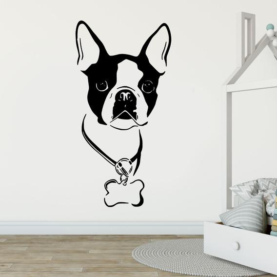 Adesivo De Parede Bulldog Francês Cachorro Coleira Osso Pet
