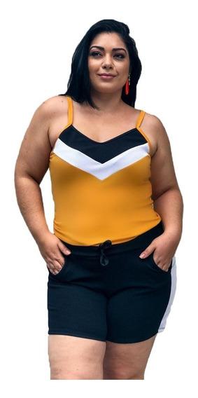Conjunto Feminino Plus Size Blusinha Shorts Moda Grande Gg