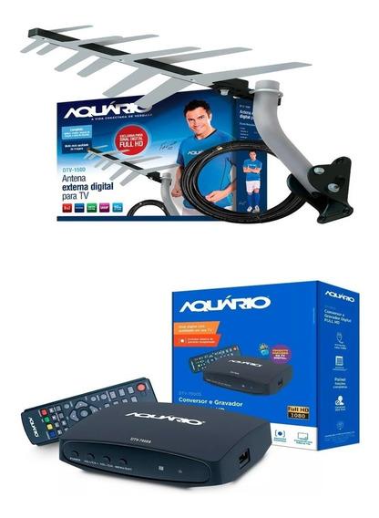 Kit Sinal De Tv Digital Conversor + Antena Externa Digital Aquário + Cabo + Suporte Pronto Para Instalar Tv De Tubo