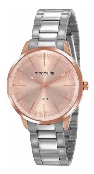 Mondaine Relógio Analógico Visor Com Glitter Prata E Rosé