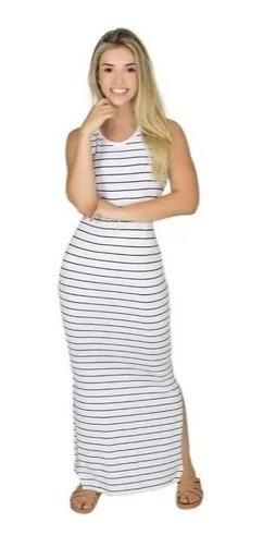 Vestido Feminino Longo Moda Evangelica Listrado Regata