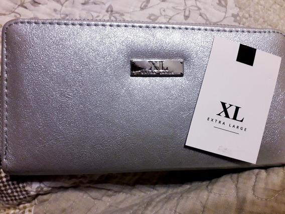 Billetera Xl Extra Large Sin Uso ! Plateada
