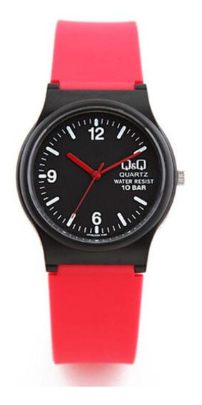 Relógio Infantil Vermelho E Preto Q&q Ponteiros Prova D