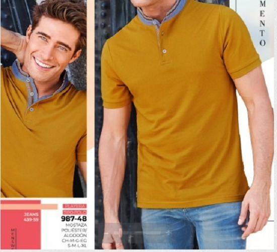 Playera Caballero Color Mostaza 987-48 Cklass Men 1-20 A