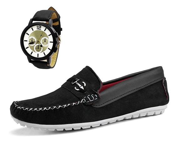 Combo Mocassim Masculino Sapatenis Sola Costura + Relógio