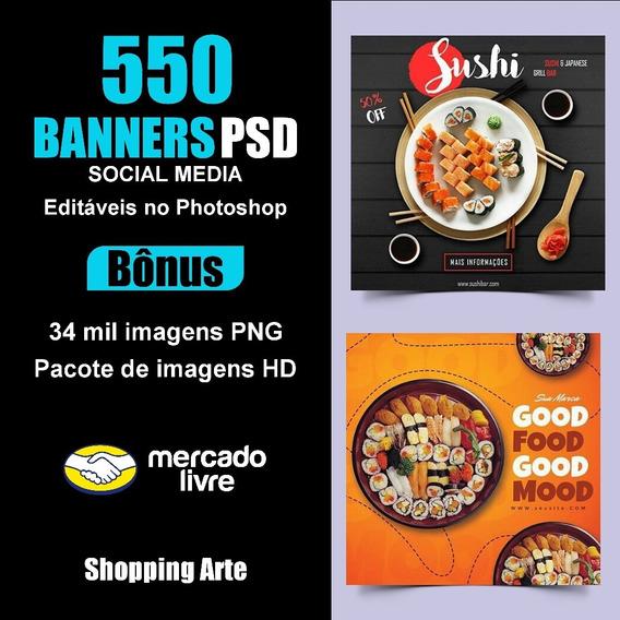 550 Banners Editáveis Para Redes Sociais Psd + Bônus
