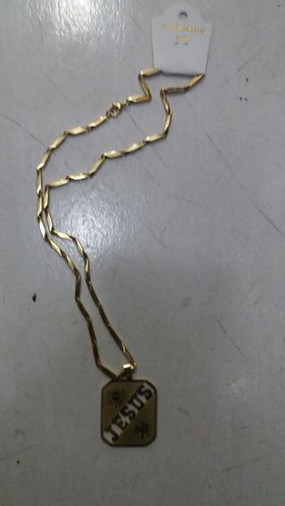 Corrente Aço Inox Nome Jesus Prata E Dourado C/5 Unidades