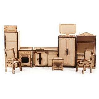 Set De Muebles Para Muñecas - 30 Piezas En Fibrofácil
