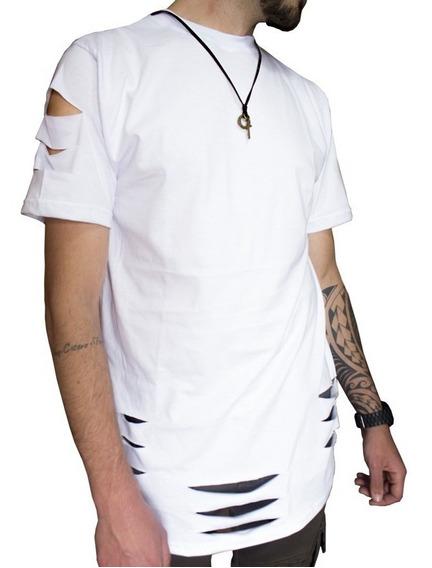 Camiseta Alongada Biker Destroyed Masculina C86 Vcstilo