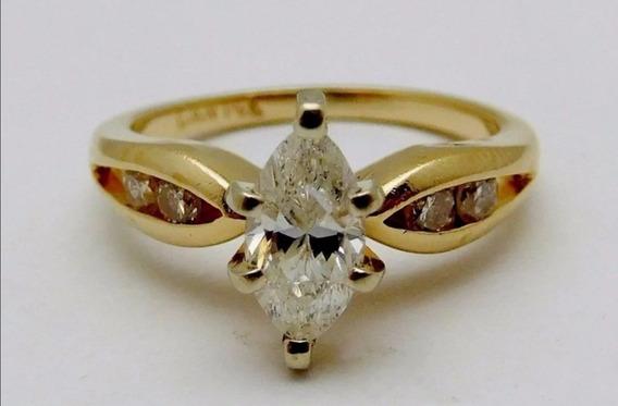 Anillo De Compromiso Diamante Marquise .65ct Mj69