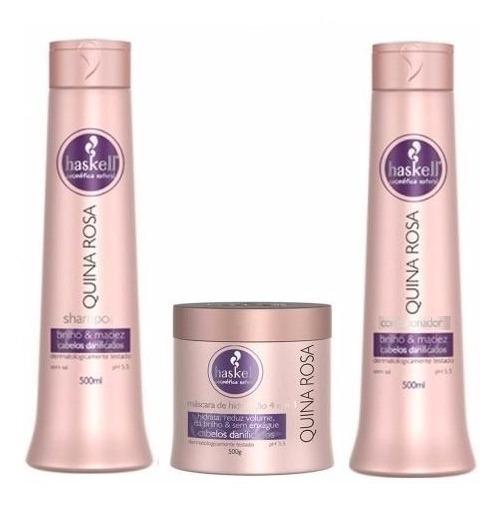 Haskell Quina Rosa 500ml 3 Produtos Shampoo+condic+masc