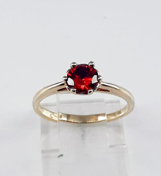 Anel Solitário Folhedo À Ouro Com Pedra Vermelha
