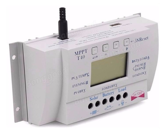 Controlador Carga Painel Solar Regulador Tensão 40a Mppt T40