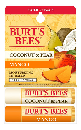 Bálsamo Labial Burts Bees Coco Y Pera & Mango Lipbalm X2