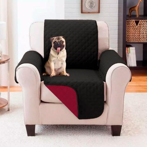 Protector De Sofa 1 Puestos Doble Faz Negro - Vinotinto