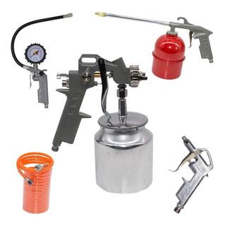 Kit Pistola Pintura Automotiva 5 Acessórios Compressor
