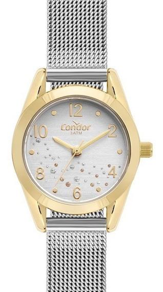 Relógio Feminino Condor Dourado E Prata Bicolor Pequeno Luxo