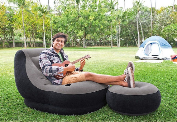 Kit Poltrona Inflável Ultra Lounge Cinza Puff P/ Pés - Intex