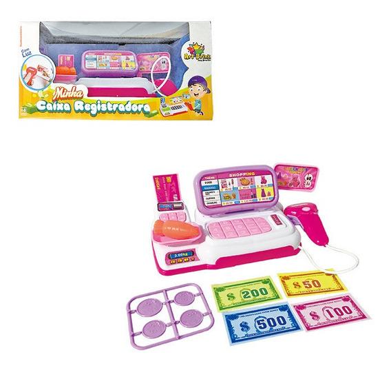 Kit Caixa Registradora Infantil Dinheiro Menina Mercado .