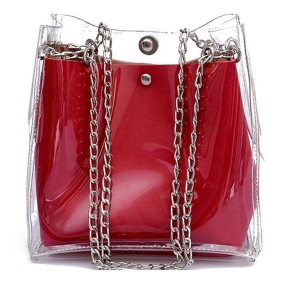 Bolsa Feminina Transparente Vinil Plástico Tiracolo Na Moda