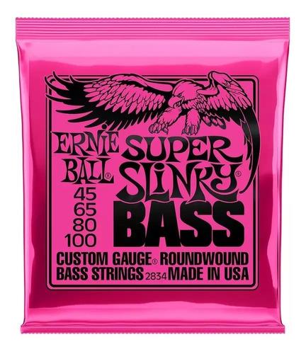 Imagen 1 de 4 de Paquete Cuerdas Bajo Ernie Ball Super Slinky 45-100 2834