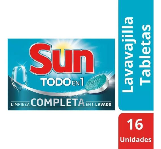 Detergente En Pastillas Jabón Lavavajillas Lavaplato Sun X16