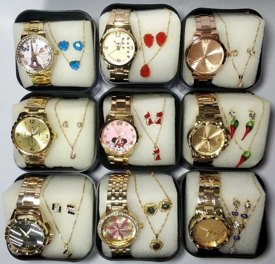 10 Relógios Feminino + 10 Kit Colar Brinco Folhado + Caixa