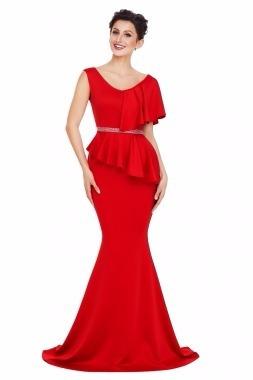 fff9f5cdb137 Vestido De Fiesta Color Rojo Para Dama Moda Graduación Boda