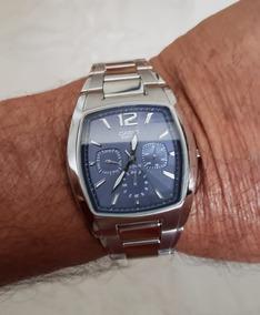 Relogio Casio Quartz, 38 X 42 Mm, Caixa E Bracelete Em Aço,