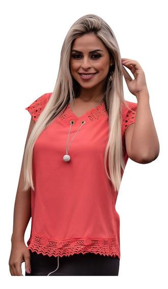 Blusa Feminina Social Detalhe Renda + Colar Moda Evangelica