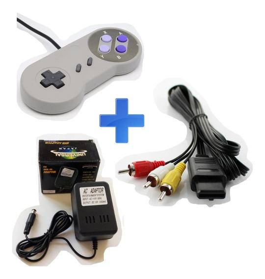 Kit Super Nintendo Snes - 2 Controles, Cabo Av E Fonte
