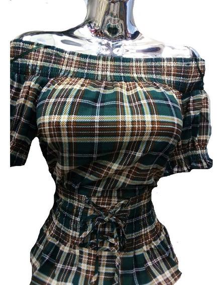 Blusa De Cuadros Para Dama Importada Tipo Campesina