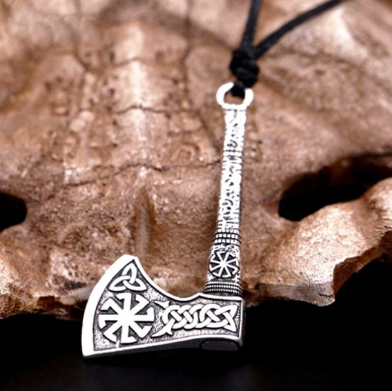 Colar Codão Machado Viking Runas Tribal Tranças Mjolnir Odin