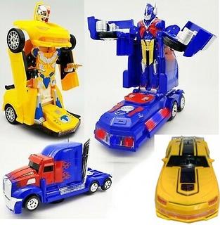 Kit 2 Carrinho Vira Robô Luz Som Transformers Optimus Prime
