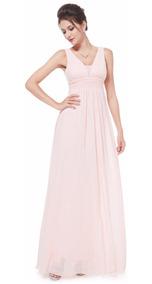 Vestido Fiesta Largo Gasa Rosa Burdeo Talla 4 8 10 12 Ep 146