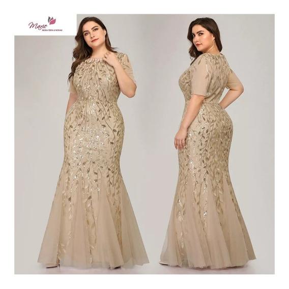 Vestido Festa Dourado Rosé Plus Size Madrinha Mae Formanda