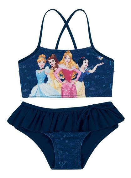 Biquíni Infantil Cropped Tiras Azul Marinho Princesas Disney