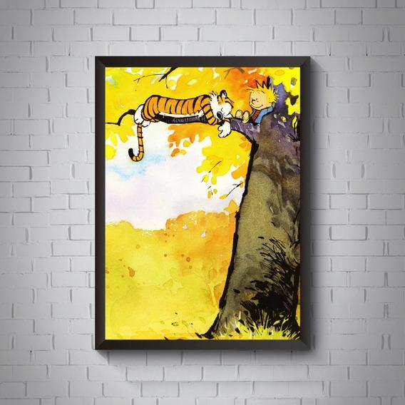 Quadro Decorativo Calvin E Haroldo Poster Moldurado 42x29cm