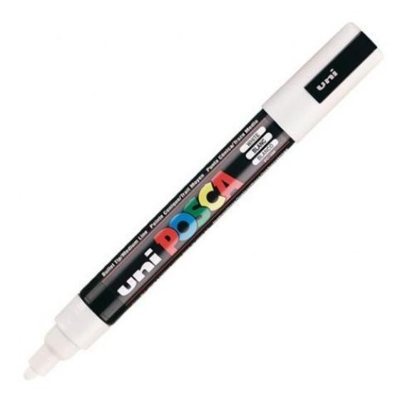 Caneta Posca Marcador Permanente Uniball 5m Cor Branco 2.5mm