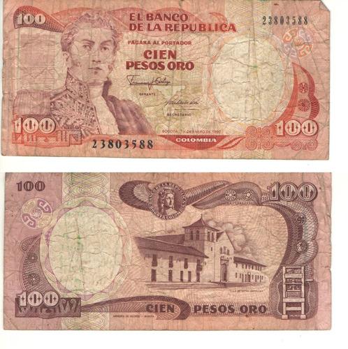 Imagen 1 de 1 de Colombia  100 Pesos Oro 1 Enero 1990