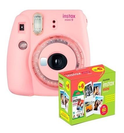 Kit Câmera Instantânea Instax Mini 9 Rosa Chicle + 60 Filmes