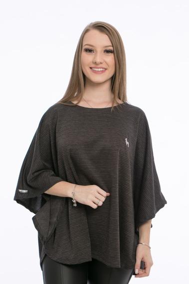 Poncho Feminino Tweed Tecido Aveludado Cabana