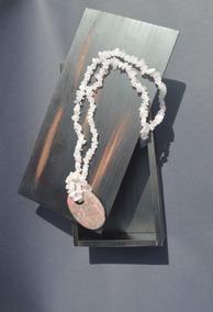 Colar Com Pingente Pedra Quartzo Rosa E Rodonita