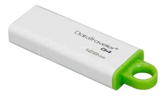 Pendrive Kingston DataTraveler G4 128GB branco/verde