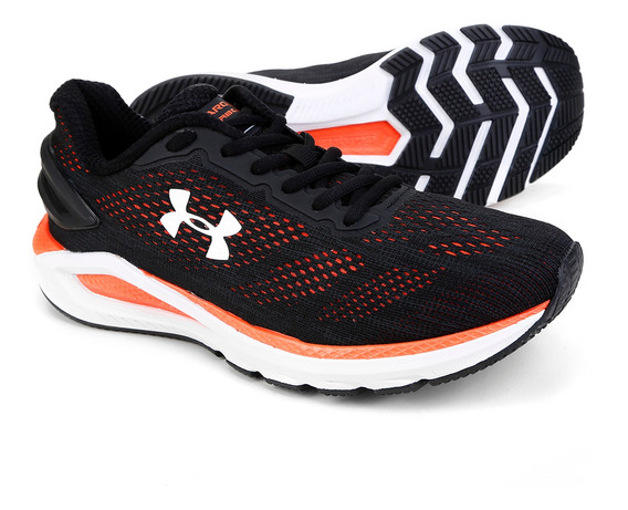Tênis Under Armour Charged Carbon Preto E Laranja - Original