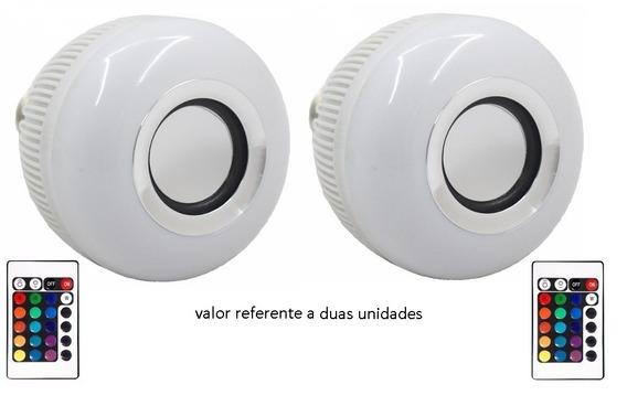 2 Lampada Led Rgb E Bluetooth Caixa De Som E Controle Remoto