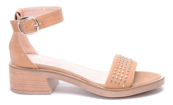 Sandalias Mujer Zapatos Eco Cuero Calidad Taco Tachas Heben