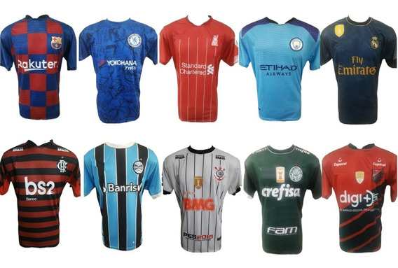 Kit Com 10 Camisetas De Times Europeus Brasileira E Seleções
