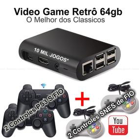 Video Game Retro 64gb 2 Controles Sem Fio + 2 Com Fio